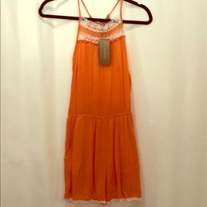Francesca's orange romper size XS new with tags